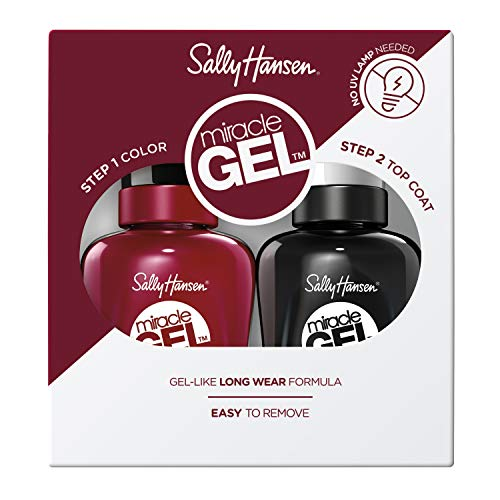 Sally Hansen Miracle Gel Nail Polish, Dig Fig and Top Coat, Value Pack