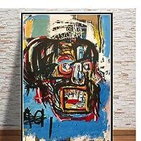 Ipea ジャンミシェルグラフィティ現代アーティストキャンバス絵画リビングルームの家の装飾のための現代壁アート画像-20X28インチフレームなし