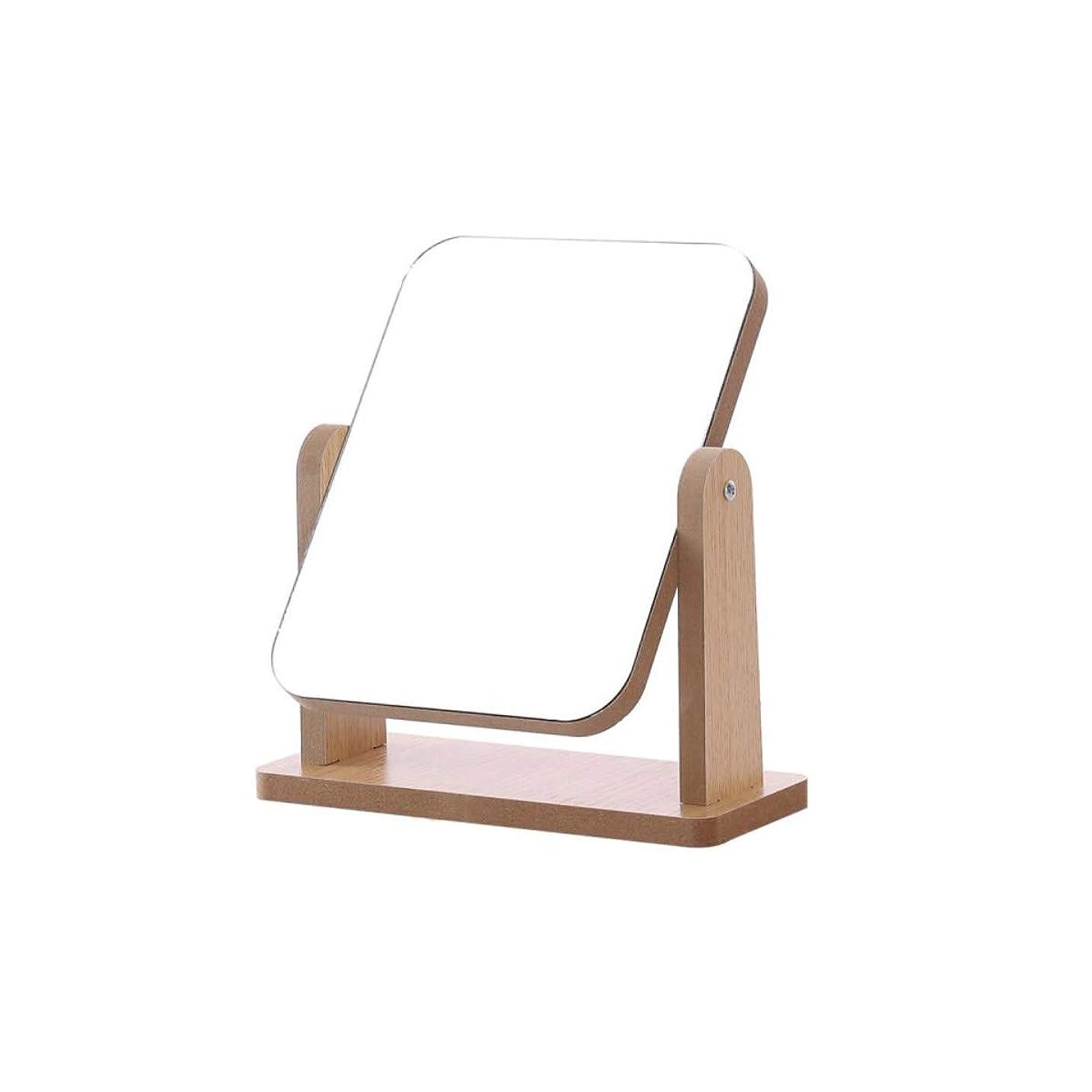 風かわいらしい賛辞WYYI ミラーを回転ポータブル化粧鏡木製の王女ミラーの美しさミラー (Size : 20*18cm)