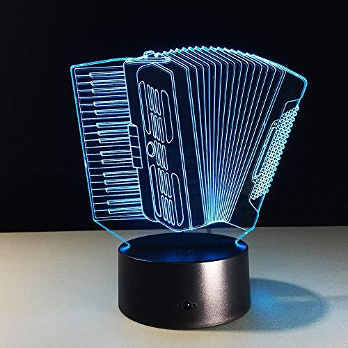 (Solo 1) Lámpara de acordeón visual 3d de 7 colores, luces de noche Led para niños, mesa táctil USB, Lampara Lampe, mesita de noche para dormir para bebés