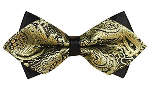 Panegy - Nœud papillon rayé - Lavallière avec double couche - Homme Soirée Businesse Mariage Cérémonie Déco Fête Costume Necktie 6*12cm, Doré