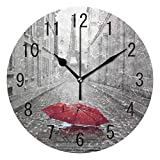 ALAZA Home Decor Eiffel Tower Street of Paris with Red Umbrella 9.5 inch Round Acrylic Wall Clock Non Ticking Silent Clock Art for Living Room Kitchen Bedroom