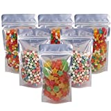 Belinlen 100 Pack 5.5 x 10 Inch Stand Up Pouch Bags Zipper Mylar Bags Clear Front with Aluminum Foil Back Reusable Food Storage Bags for Multipurpose with Gusset Bottom(5.5mil Thickness)