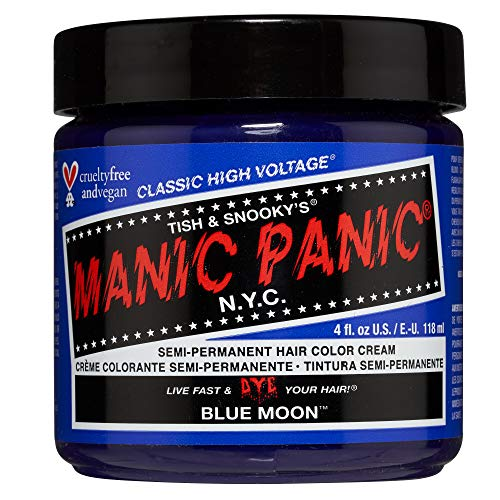 Manic Panic Blue Moon Hair Dye - Classic High Voltage - Semi Permanent Hair Color - Bright, Cool, True Blue Shade - For Dark & Light Hair - Vegan, PPD & Ammonia-Free - For Coloring Hair on Women & Men