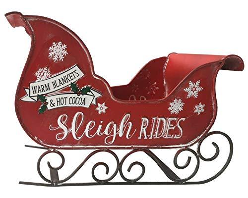 Trineo de Papá Noel hecho a mano retro chic tradicional de metal rojo para regalos de Navidad