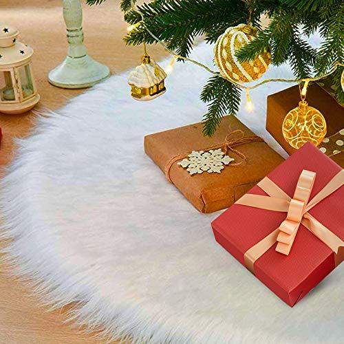 laxikoo 122cm Gonna Albero di Natale, Albero di Natale Gonna Copertura di Base Bianco Peluche...