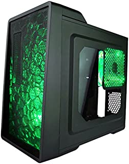APEVIA X-ENERQ-GN Micro ATX /Mini ATX Gaming/HTPC Case, Supports Video Card up to 290mm/ATX PS, 1 x Window, USB3.0/USB2.0/HD Audio/SD/Micro SD Ports, 2 x 120mm Green LED fans, Dust Filter – Green