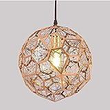 WEM Lámpara de araña decorativa de novedad, lámpara colgante de pantalla de metal esférica de diamante de oro rosa, accesorios de iluminación de suspensión de simplicidad nórdica para dormitorio, sal