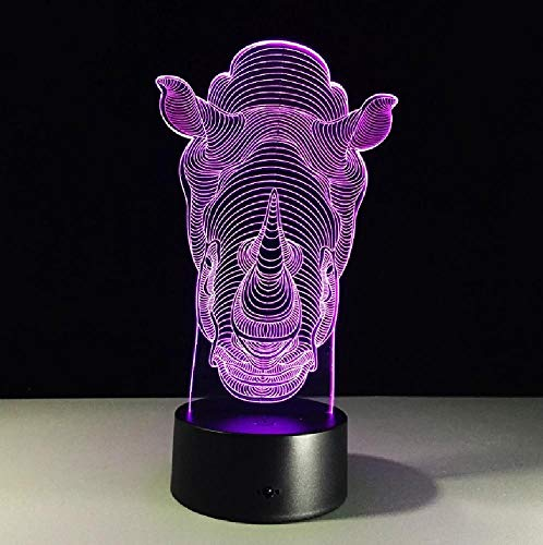 Neuheit Led Usb 3D-Lampe Mini-Led-Leuchten Rhino Bunte 3D-Lampe Drahtlose Acryl Nachtlicht 3D-Leuchten