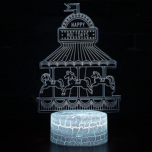 Luz de juego de luz de noche 3D 16 Color Cambio de acrílico Luz de luz de acrílico,Decoración del hogar + Control remoto,Cargador USB,Pretty Cool Toys Regalos Cumpleaños,Navidad-Carrusel