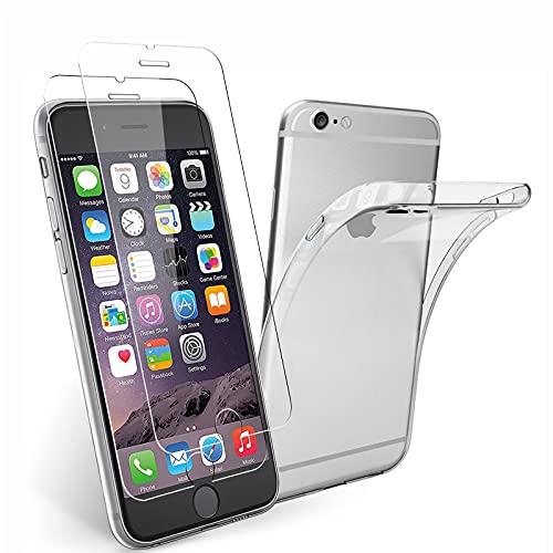 NEW'C Funda para iPhone 6, iPhone 6s (4.7') Gel de TPU Suave de Silicona Transparente Alta y 2X Protector de Pantalla para iPhone 6, iPhone 6s (4.7') Vidrio Templado - Antiarañazos