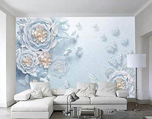Custom wallpaper fantasy blue embossed jewels floral butterfly living room bedroom TV background walls 3d wallpaper,150 * 105cm