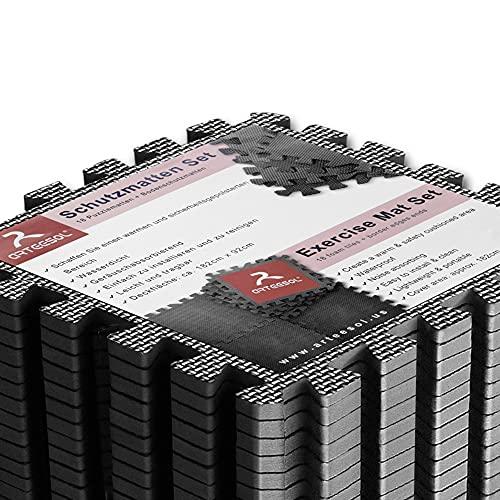 arteesol Schutzmatten Set 18er Puzzlematten Trainingsmatten wasserdichte Bodenschutzmatten Unterlegmatte, Anti-rutsch Bodenauflagen Gymnastikmatten für Pool Fitnessgeräte (schwarz - 18pcs)