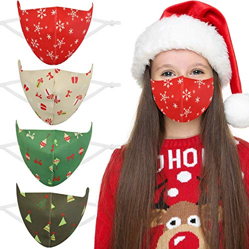 DECOMEN Face Masks Kids Face Mask, Face Bandanas Washable, Reusable Protective with Xmas Tree Gift Box Cartoon Print for Party School Reusable Face Mask Breathable (Brown &Green)