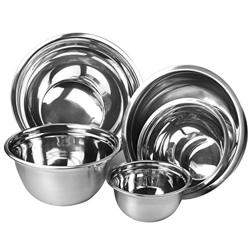 Unknown1 Premium Polished Mirror Nesting Mixing Bowls Set of 5 5.75×11.87 Silver Stainless Steel 1 Piece Dishwasher Safe