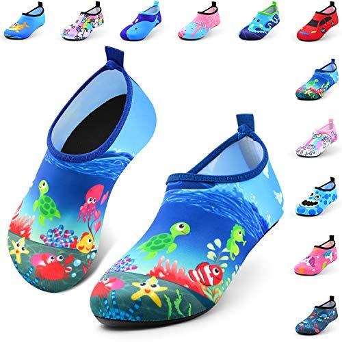 Jiamus Kinder Badeschuhe Wasserschuhe Schwimmschuhe Strandschuhe Aquaschuhe Schnell Trocknend Barfuss Schuhe für Jungen Mädchen Kleinkind Säugling Yoga Unisex,K,Kleine Schildkrötee(24/25 EU)
