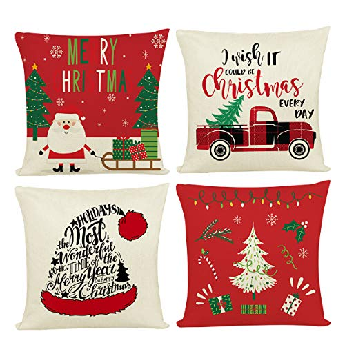 Joyshare Christmas Throw Pillow Covers 18x18 inch 4 Sets Xmas Decorations Pillow Cushion Covers Home Decorative Pillowcase for Couch Sofa Bed Breathable Linen with Hidden Zipper