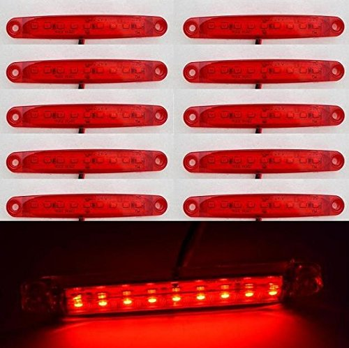 24/7 Auto Lot de 10 balises latérales DEL rouges pour camion, remorque, caravane et autobus