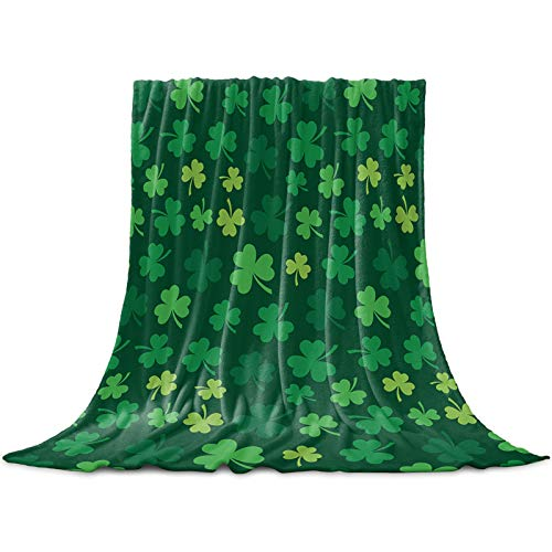 Clovers Throw Blanket,Flannel Fleece Blanket,Soft Cozy Fuzzy Comfy Warm Cute Lightweight Blanket for Women Adult Girl,Kid,Baby-St. Patrick Gift-Green Microfiber Blanket for Couch,Bed,Sofa - 60\' x 50\
