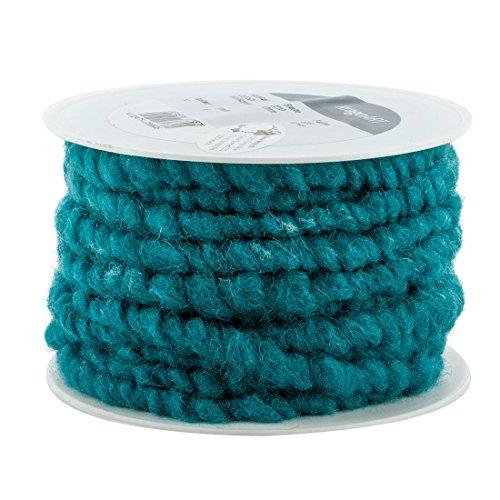 Wollkordel, Wollschnur 10 mm breit - 10 Meter auf Plastikrolle, Bastelwolle zum Dekorieren von Gefäßen und Gestecken, beliebt in der Floristik (türkis)