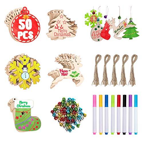 Fimghsoo Adornos Navideños Arbol Colgante Navideño de Madera Decoración de árboles de Navidad DIY 50 Piezas+8 Lápiz de Color+60 Cascabeles