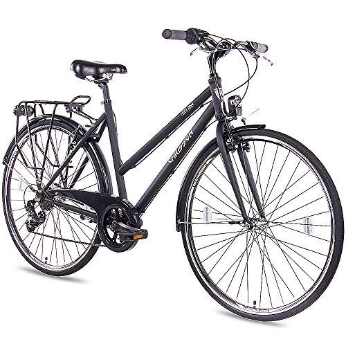 CHRISSON 28 Zoll Citybike Damen - City One schwarz matt 50 cm - Damenfahrrad mit 7 Gang Shimano Tourney Kettenschaltung - praktisches Cityfahrrad für Frauen