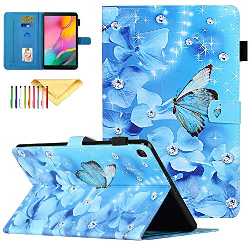Uliking Case for Samsung Galaxy Tab A 10.1 2019, SM-T510 Case, Premium Leather Case Folio Stand Smart Protective Covers for Galaxy Tab A 10.1 inch Tablet 2019 [SM-T510/T515/T517], Flower Butterfly