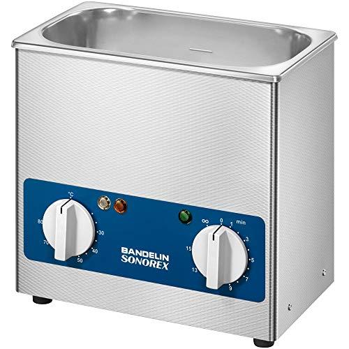 Sonorex Super RK 100 H (3 Liter), Ultraschallreinigungsgerät mit 35 kHz Frequenz, Ultraschallbad aus SUS304, Ultraschall Reinigungsbad mit 80 Watt Ultraschall-Leistung, Ultraschallreiniger mit Heizung