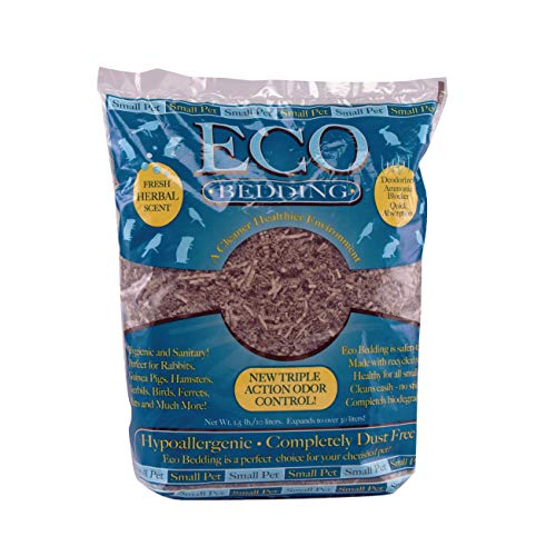 ECO BEDDING FiberCore with Odor-Control, Dust Free Paper Bedding for Small Pets, Made in The USA, 1.5lb/10L Expands to 30L, Natural