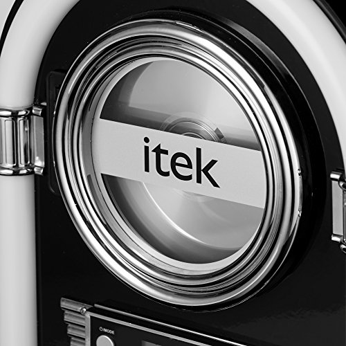 iTek Jukebox with CD Player, FM Radio and Bluetooth Connection, Remote Control Included, Gloss Black