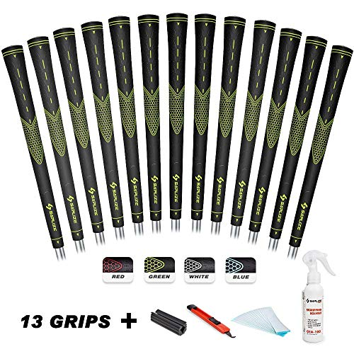 SAPLIZE Golf Grips Set of 13 with Complete Regripping Kit, Midsize, Rubber Golf Club Grips, Green