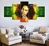 QMCVCDD Leinwanddrucke 5 Stück Wandbild Malerei Hd Poster Wohnkultur Wohnzimmer Wandkunst Kreatives Geschenk Bob Marley Rasta Reggae 5 Stück Puzzle