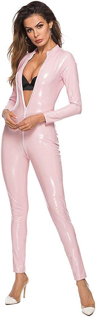 Maryia Women's Metallic Catsuit Bodysuit Sexy Clubwear Stripper Leather Lingerie Shiny One Piece Jumpsuit