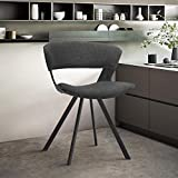 Armen Living Ulric Wood and Metal Modern Dining Room Accent Chair, Charcoal/Black