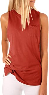 Women's High Neck Tank Top Sleeveless Blouse Plain T Shirts Pocket Cami Summer Tops