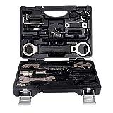 Las herramientas profesionales de mantenimiento de bicicletas, herramientas de reparación de bicicletas Set Kit multifuncional con la caja de la bici del camino de MTB (negro)