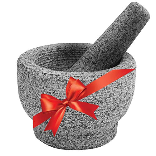 Mortar and Pestle Set, Unpolished Genuine Granite Molcajete Grinder for Guacamole, Herbs, Pesto, Salsa, Spices, Seasonings, 6 Inch, 2 Cups Capacity