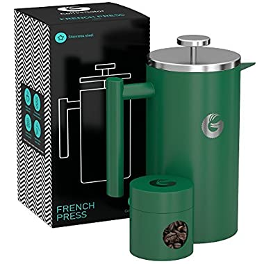 Large French Press Coffee Maker – Vacuum Insulated Stainless Steel (Green, 8 Cups / 34floz)