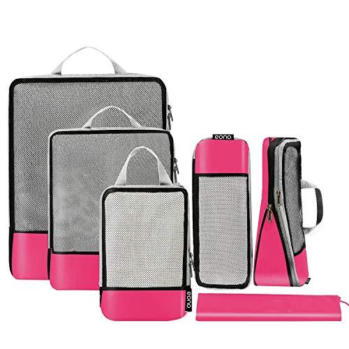 Eono by Amazon - Organizadores de Viaje de compresión expandibles, Impermeable Organizador para Maletas, Organizador de Equipaje, Cubos de Embalaje, Compression Packing Cubes, Fucsia, 6 Set