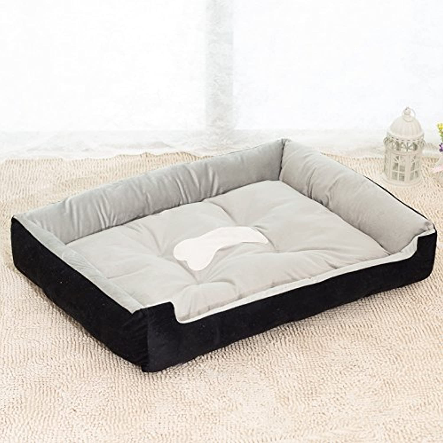 PinShang Soft Warm Pet House Puppy Cat Dog Cave Bed Removable Cushion Blanket Kennel Black L
