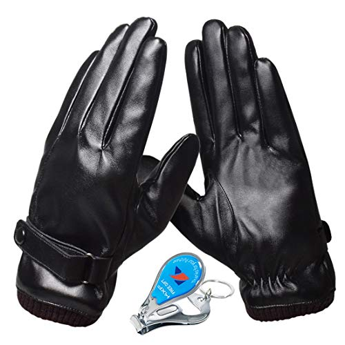 KXF 皮手袋 バイク グローブ タッチパネル対応 メンズ 冬用 裏起毛 保温 人工皮革手袋 全指 防風 防寒 防水 てぶくろ スリップ防止 厚手