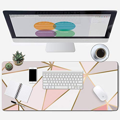 """ZYCCW Large Gaming XXL Mouse Pad with Stitched Edge 31.5""""x11.8""""x0.15"""" Rose Gold Marble Mouse Mat Customized Extended Gaming Mouse Pad Anti-Slip Rubber Base Ergonomic Mouse Pad (Rose Gold Mouse pad) Photo #8"""