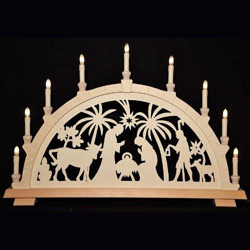 Holzkunst Niederle - Großer Schwibbogen mit geschnitzten Bogen - Motiv Christi Geburt Erzgebirge