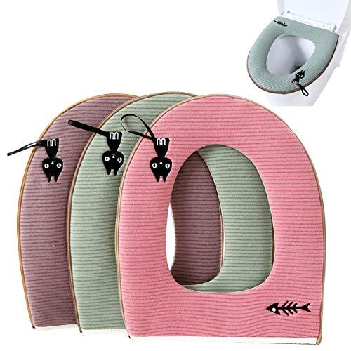Housse de WC,ZUZER 3pcs Housse de Siège de Toilette Abattant WC Coussin Lavable Toilet Seat Cover Cushion Toilet Cover