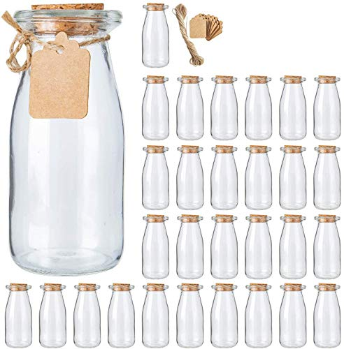 Brajttt 30Pcs Glass Favor Jar with Cork Lids,Pudding Jars with Cork Stopper,Glass Jars with Ice Cream,Glass Yogurt Bottle,Round Milk Glass Jars with Tags and Strings(200 ML,7OZ)