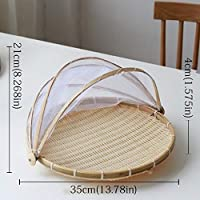 HUYUE 手作りの竹織バグ証明籐のバスケット防塵ピクニックフルーツトレイ食品パン皿カバー (Color : Round35cm)