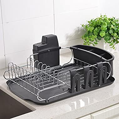 Wtape New Design Modern Steel Rust Proof Kitchen Draining Dish Drying Rack,Dish Rack With Black Drainboard, 3 Separate Cup Holder Attachments, A Wide Utensil Holder and Knife Holder Attachment