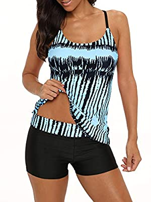 Womens Tankini Top Boyshorts Two Pieces Swimsuits Sports Bathing Suit Criss Cross Back Ombre Color Plus Size S-XXXL Round Neck Blue White 3X-Large (fits like US 16-18)