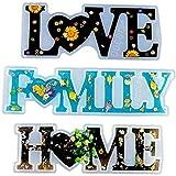 3 Stück Liebes-, Familien-, Heim-Harzform, Silikon-Epoxidharz-Gussform mit Liebeszeichen und Herzform, romantische Buchstabenform für Bastelarbeiten, Tischdekoration