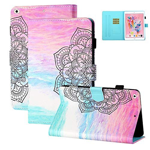Coopts iPad 5th Generation Case with Pencil Holder, iPad 9.7 inch 2018 Case with Stand, iPad Air/Air 2 Case for Kids, Shockproof Auto Sleep Wake Photo/Card Slots Cover for iPad 9.7', Marble Mandala